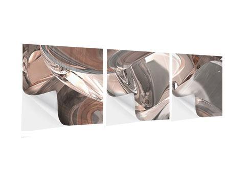 Panorama Klebeposter 3-teilig Abstraktes Glasfliessen