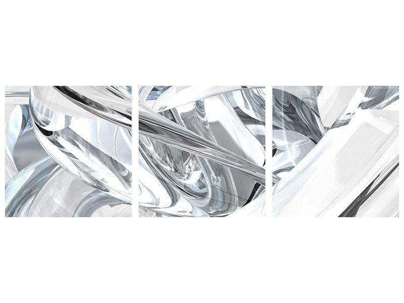 Panorama Klebeposter 3-teilig Abstrakte Glasbahnen
