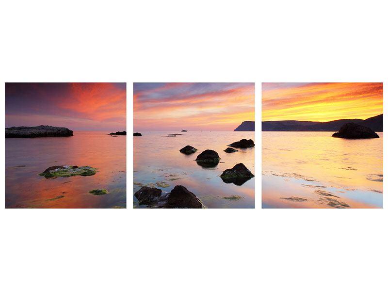 Panorama Klebeposter 3-teilig Ein Sonnenuntergang am Meer