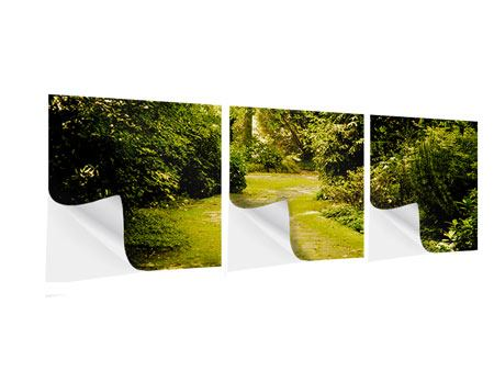 Panoramic 3 Piece Self-Adhesive Poster Moss-Covered Path