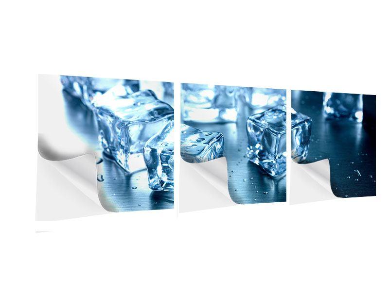 Panorama Klebeposter 3-teilig Viele Eiswürfel