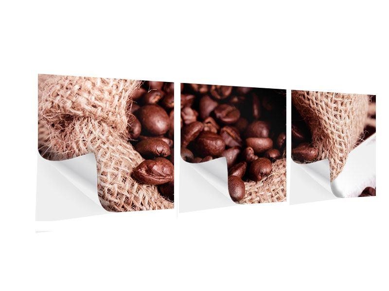 Panorama Klebeposter 3-teilig XXL Kaffeebohnen