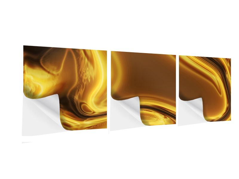 Panorama Klebeposter 3-teilig Abstrakt Flüssiges Gold