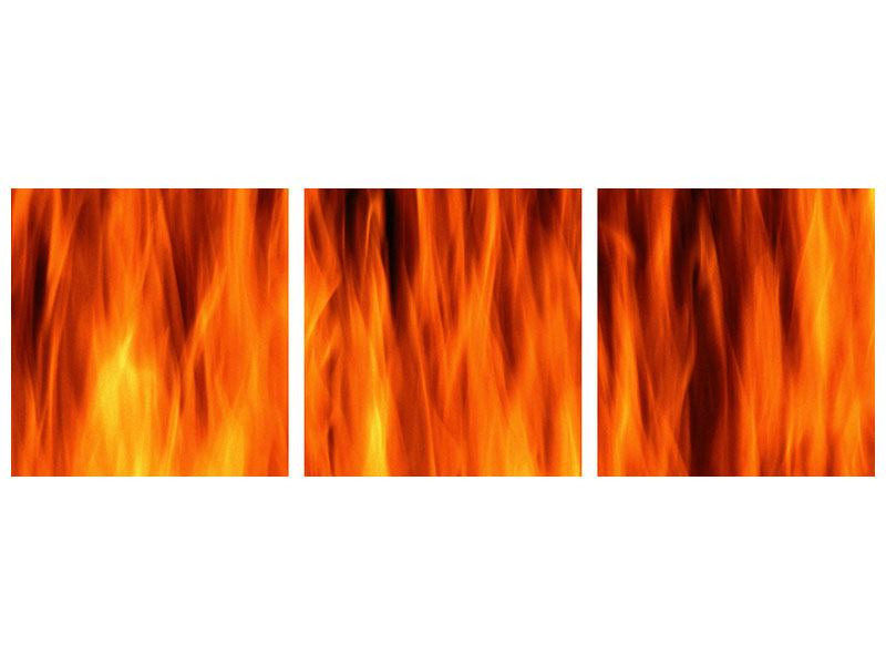 Panorama Klebeposter 3-teilig Feuer Close Up