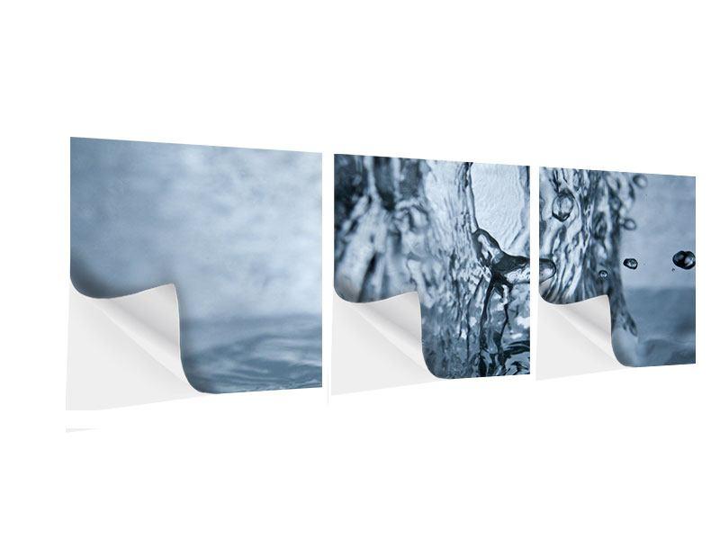 Panorama Klebeposter 3-teilig Wasserdynamik