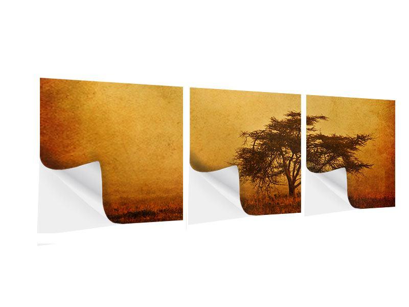 Panorama Klebeposter 3-teilig Sonnenuntergangsstimmung