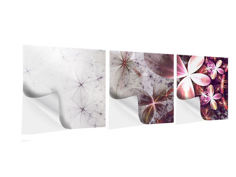 Panorama Klebeposter 3-teilig Abstrakte Blumen