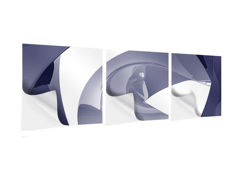 Panorama Klebeposter 3-teilig Abstrakte Schwingungen