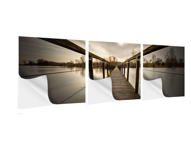 Panorama Klebeposter 3-teilig Die Holzbrücke