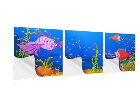 Panorama Klebeposter 3-teilig Der Schatz unter Wasser