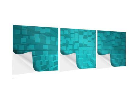 Panorama Klebeposter 3-teilig 3D-Kubusse