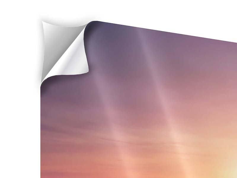 Panorama Klebeposter 3-teilig Sonnenuntergang auf See
