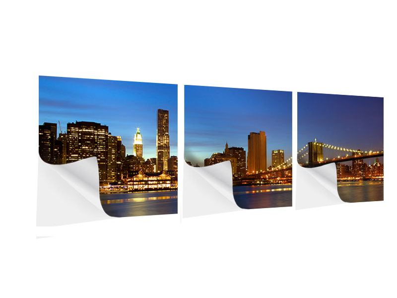 Panorama Klebeposter 3-teilig Skyline Manhattan im Lichtermeer