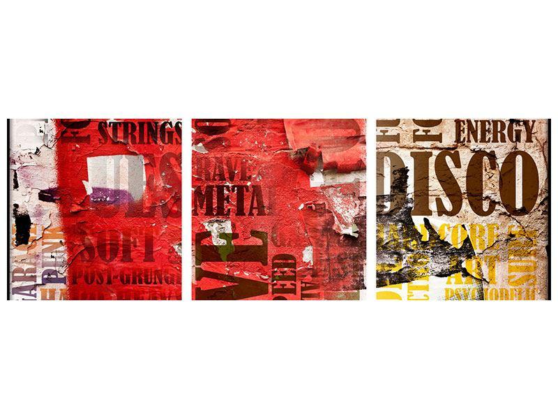 Panorama Klebeposter 3-teilig Musiktext im Grungestil