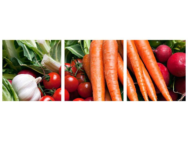 Panorama Klebeposter 3-teilig Gemüse