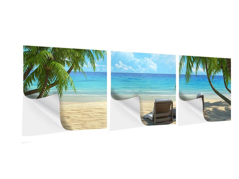Panorama Klebeposter 3-teilig Strandparadies