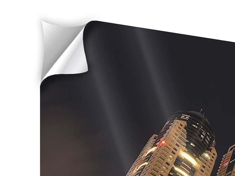 Panorama Klebeposter 3-teilig Wolkenkratzer Dubai Marina