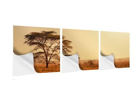 Panorama Klebeposter 3-teilig Weideland in Kenia