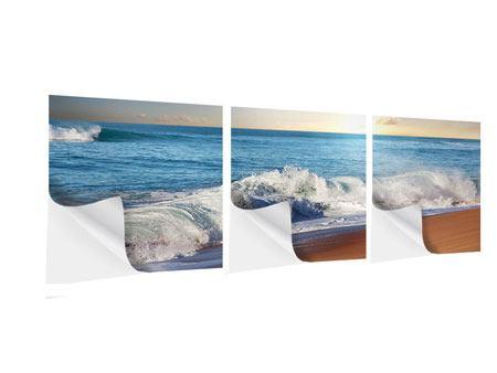 Panorama Klebeposter 3-teilig Die Wellen des Meeres