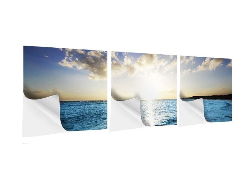 Panorama Klebeposter 3-teilig Das Meer im Sonnenaufgang