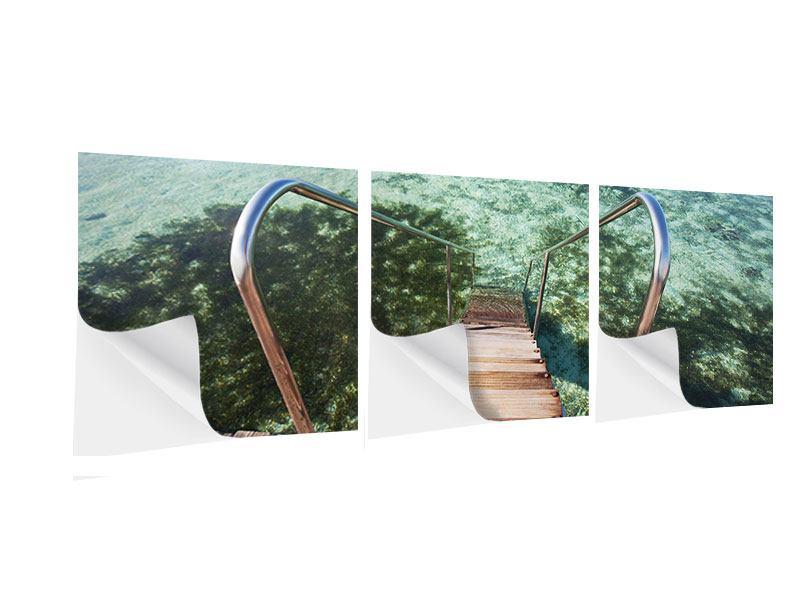 Panorama Klebeposter 3-teilig Bad im Meer