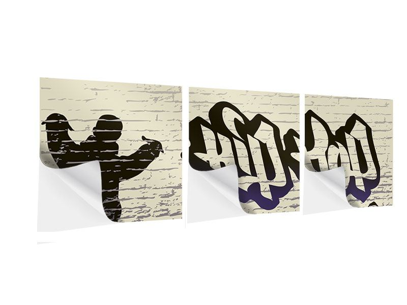 Panorama Klebeposter 3-teilig Graffiti Hip Hop