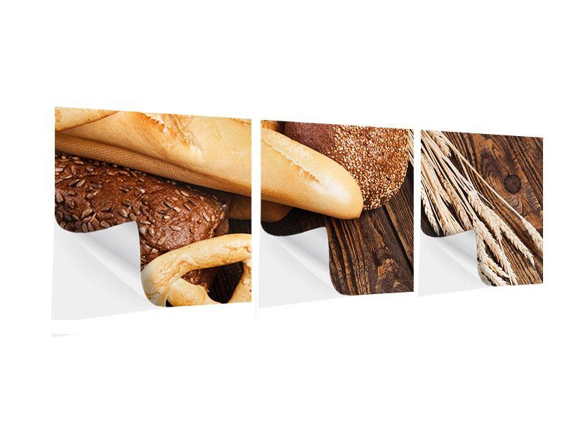 Panorama Klebeposter 3-teilig Brot und Bretzel