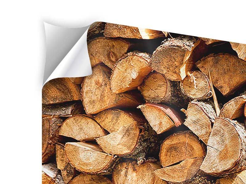 Panorama Klebeposter 3-teilig Gestapeltes Holz