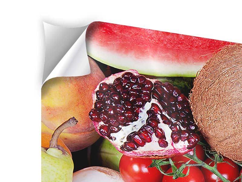 Panorama Klebeposter 3-teilig Frisches Obst