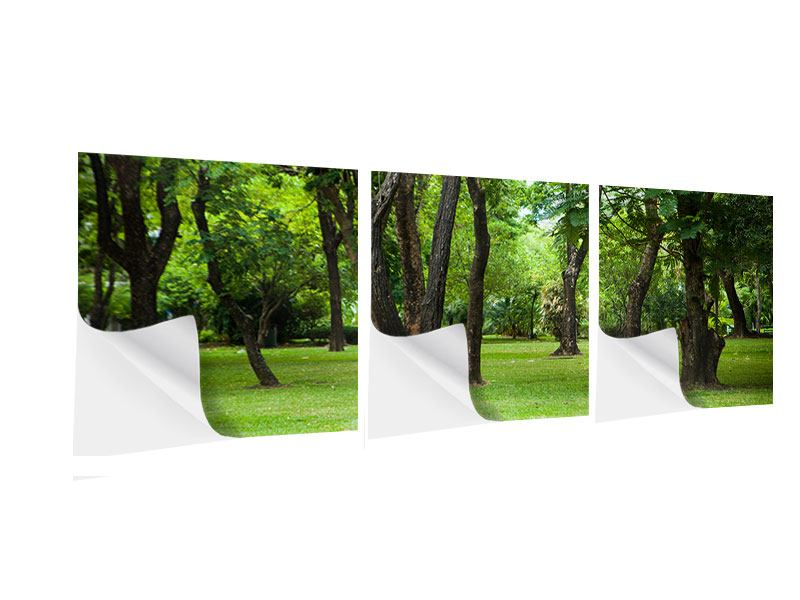 Panorama Klebeposter 3-teilig Kirschbaum-Garten