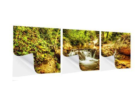 Panorama Klebeposter 3-teilig Wasserfall im Wald