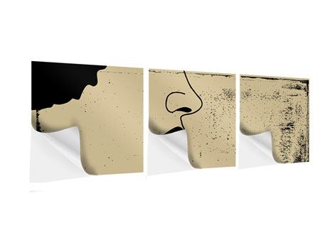 Panorama Klebeposter 3-teilig Frauenportrait im Grungestil