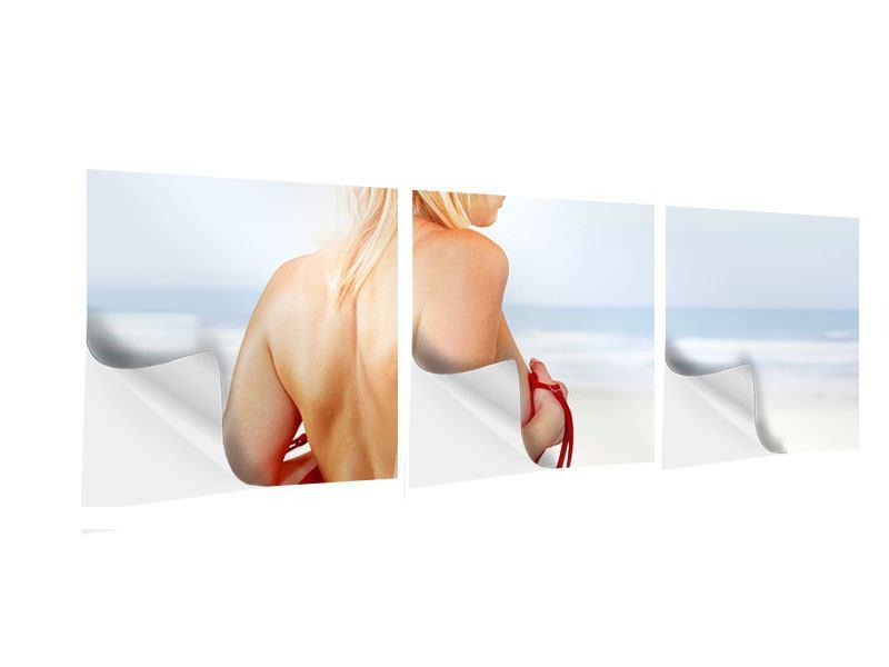 Panorama Klebeposter 3-teilig Rücken einer Schönheit