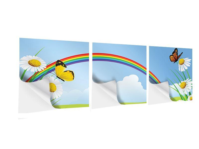 Panorama Klebeposter 3-teilig Der bunte Regenbogen