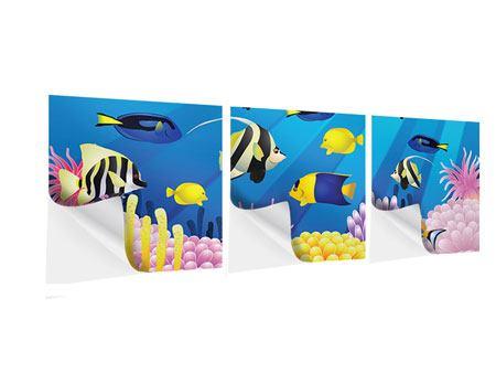 Panorama Klebeposter 3-teilig Kinder Unterwasserwelt