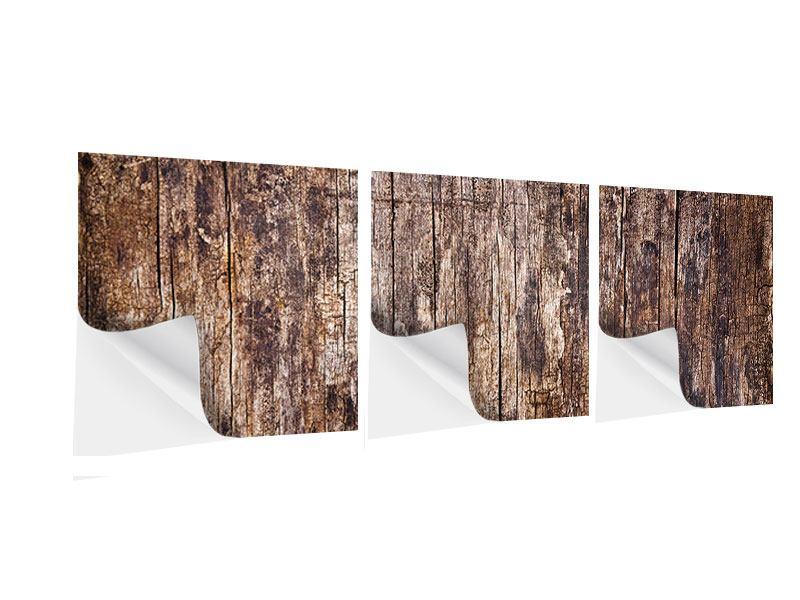Panorama Klebeposter 3-teilig Retro-Holz