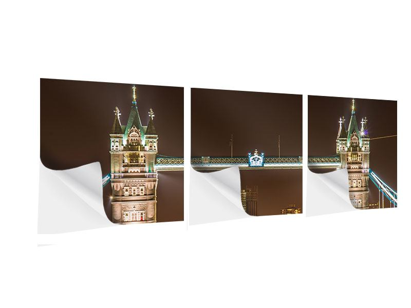 Panorama Klebeposter 3-teilig Tower Bridge bei Nacht