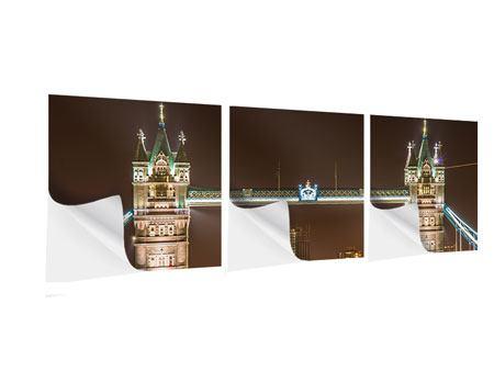 Panorama Klebeposter 3-teilig Tower Bridge bei Nacht