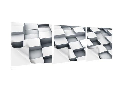 Panorama Klebeposter 3-teilig 3D-Kubus