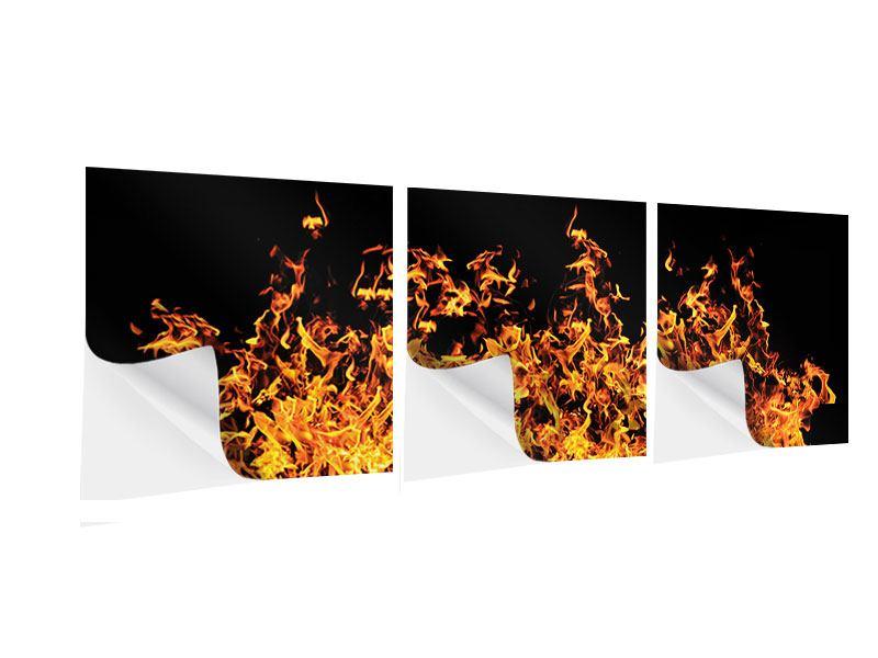 Panorama Klebeposter 3-teilig Moderne Feuerwand
