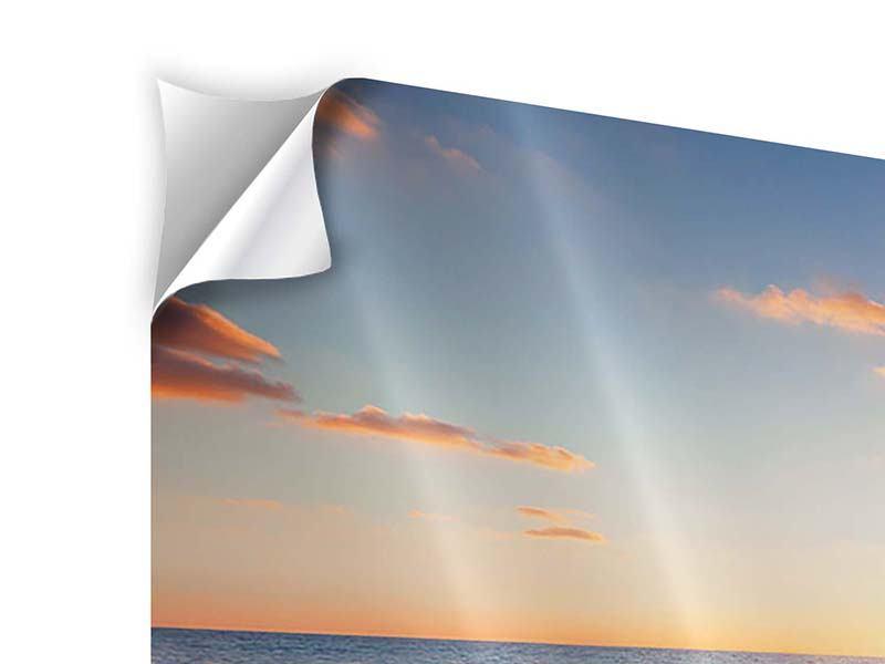 Panorama Klebeposter 3-teilig Sonnenuntergang am Horizont