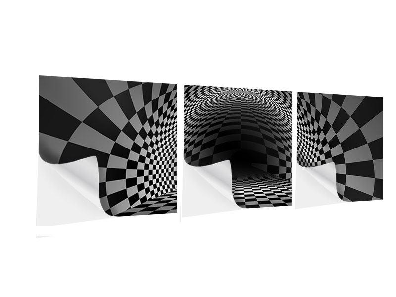 Panorama Klebeposter 3-teilig Abstraktes Schachbrett
