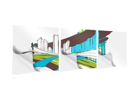 Panorama Klebeposter 3-teilig Graffiti Street-Art