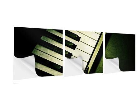Panorama Klebeposter 3-teilig Close Up Klavier