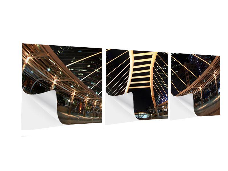 Panorama Klebeposter 3-teilig Avantgardistische Brücke
