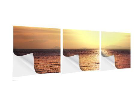 Panorama Klebeposter 3-teilig Sonnenuntergang an der See
