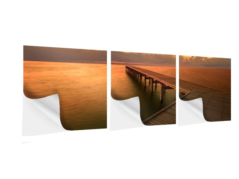 Panorama Klebeposter 3-teilig Der Steg am Meer