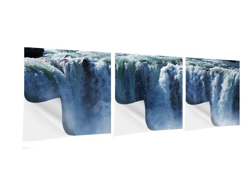 Panorama Klebeposter 3-teilig Mächtiger Wasserfall