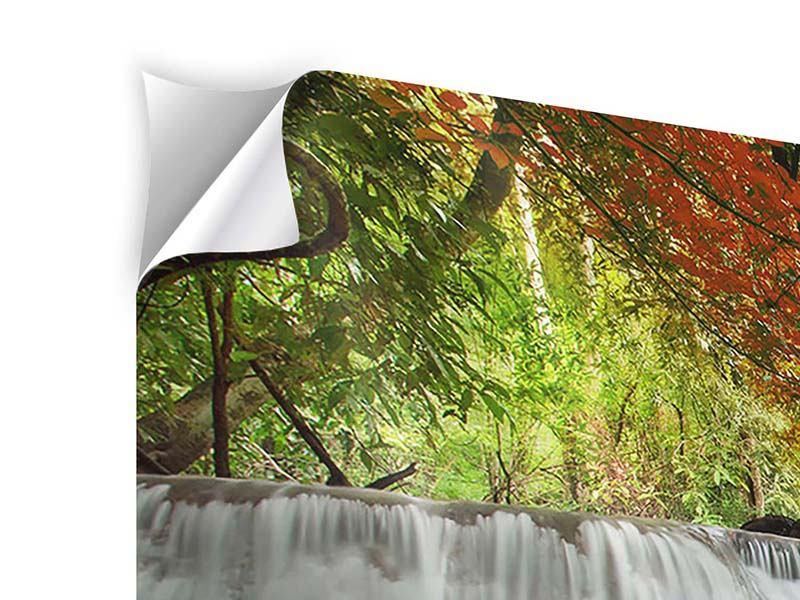 Panorama Klebeposter 3-teilig Erawan Wasserfall