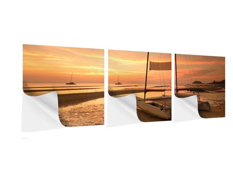 Panorama Klebeposter 3-teilig Sonnenuntergang am Strand